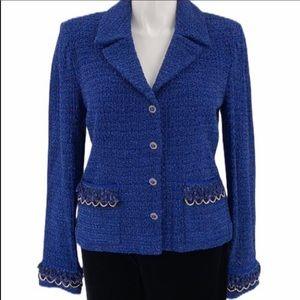 St. John Couture Boucle Knit Deep Lapis Sweater